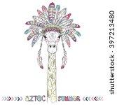 Aztec Giraffe  Summer Art Prin...