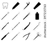 set of black dental icons ... | Shutterstock .eps vector #397215763