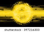 dark yellow Circle wave illustration of technology internet network computer background with binary, style. infographics. Information. motion blur. pixel. Binary digit. number. web website tech - stock photo