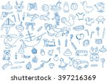 blue funny baby toys set.... | Shutterstock .eps vector #397216369