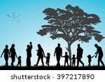 families walking in the park | Shutterstock . vector #397217890