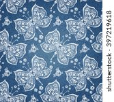 hand drawn butterfly pattern on ... | Shutterstock .eps vector #397219618