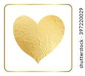 Gold Heart Hand Draw. Golden...