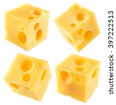 Cube Of Cheese Isolated On A...