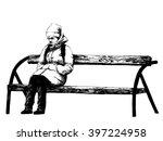 sad girl on bench. black and... | Shutterstock . vector #397224958