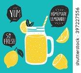 hand drawn lemon  lemon slice ... | Shutterstock .eps vector #397227556