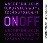 purple neon light alphabet font.... | Shutterstock .eps vector #397230853