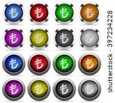 set of turkish lira sign glossy ...