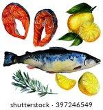 fish salmon steak salmon fillet ... | Shutterstock . vector #397246549