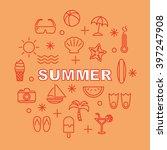 summer minimal outline icons ... | Shutterstock .eps vector #397247908