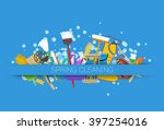 spring cleaning supplies blue... | Shutterstock .eps vector #397254016