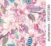 vintage flower garden spring...   Shutterstock .eps vector #397257280