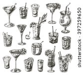 coctails set. hand drawn vector ... | Shutterstock .eps vector #397259650
