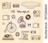 Retro Style Set  Gramophone ...