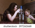 quarrel between drunk mother... | Shutterstock . vector #397262668