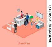 isometric interior of reception.   Shutterstock .eps vector #397264534