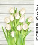 White Tulips On Light Wooden...