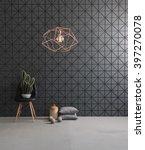 black textured wall and modern ... | Shutterstock . vector #397270078