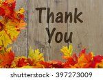 thank you  autumn leaves with... | Shutterstock . vector #397273009