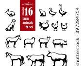 vector farm animals outline...   Shutterstock .eps vector #397284754