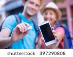 travel and communication. young ... | Shutterstock . vector #397290808