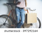 hipster girl with vintage... | Shutterstock . vector #397292164