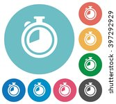 flat timer icon set on round...