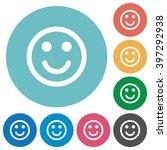 flat smiling emoticon icon set...