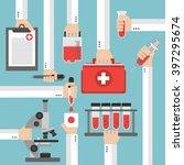 medical blood analysis flat... | Shutterstock .eps vector #397295674