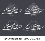 surfing logo with surfboard ... | Shutterstock .eps vector #397296766