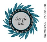 boho hand drawn wreath with... | Shutterstock .eps vector #397301320