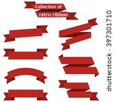 set of red ribbons on a... | Shutterstock .eps vector #397301710