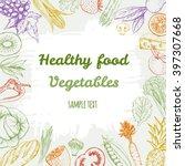 healthy fresh vegetables frame. ... | Shutterstock .eps vector #397307668