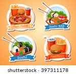 fast food  hamburger  sushi.... | Shutterstock .eps vector #397311178