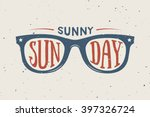vintage summer sunglasses in... | Shutterstock .eps vector #397326724
