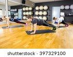 group of people doing pushups... | Shutterstock . vector #397329100