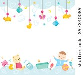 Stock vector baby icons and objects background accessories frame hanging border 397340089