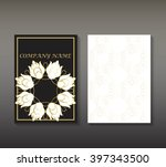 flayer with gold patterns... | Shutterstock .eps vector #397343500