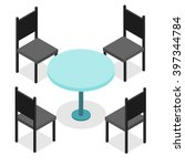 four black chairs and blue... | Shutterstock .eps vector #397344784