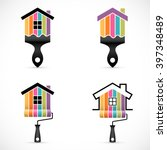 set of house renovation icons.... | Shutterstock .eps vector #397348489