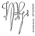 facsimile of the signature of... | Shutterstock . vector #397349059
