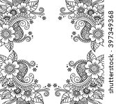 black flower frame  lace... | Shutterstock .eps vector #397349368