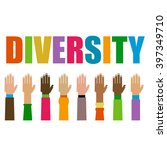 diversity hands raised... | Shutterstock .eps vector #397349710