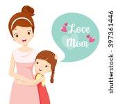 daughter hugging her mother ... | Shutterstock .eps vector #397361446
