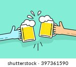 two abstract hands holding beer ... | Shutterstock . vector #397361590