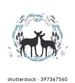 beautiful couple of deers in...   Shutterstock .eps vector #397367560