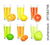 set of fresh citrus juices....   Shutterstock .eps vector #397383748