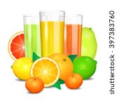 fresh citrus juice and fruits.... | Shutterstock .eps vector #397383760