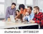 web designers discussing new... | Shutterstock . vector #397388239