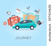 travel by car. world travel.... | Shutterstock .eps vector #397414630